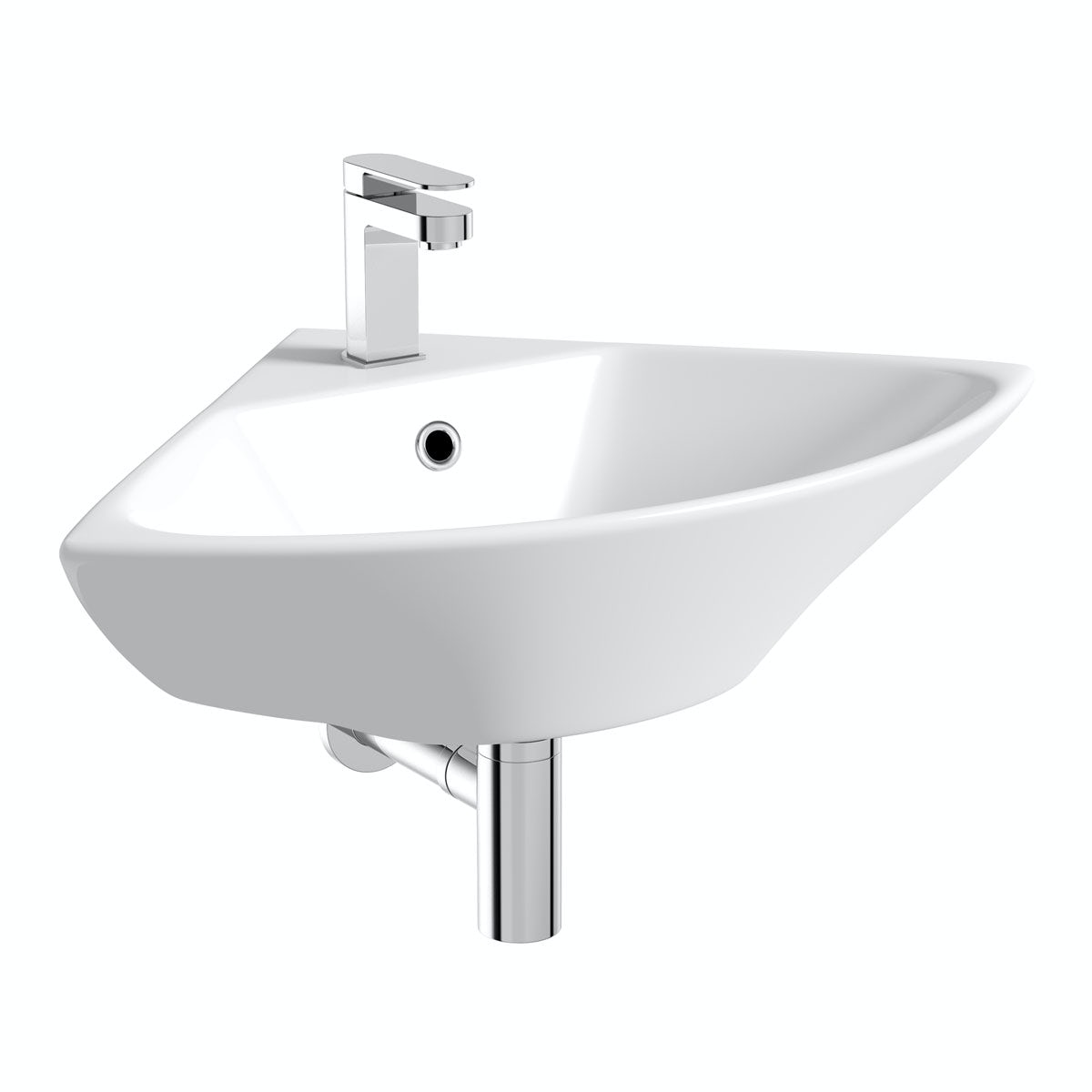Orchard Derwent Corner Wall Mounted Basin With Waste