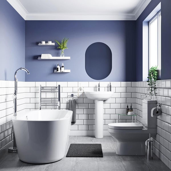 Orchard Balance complete freestanding bath suite with taps and wastes