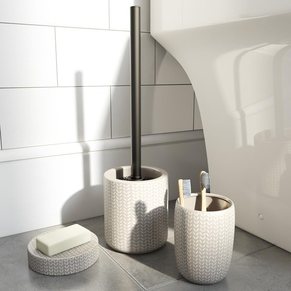 Accents Maya grey ceramic 3 piece bathroom set with soap dish