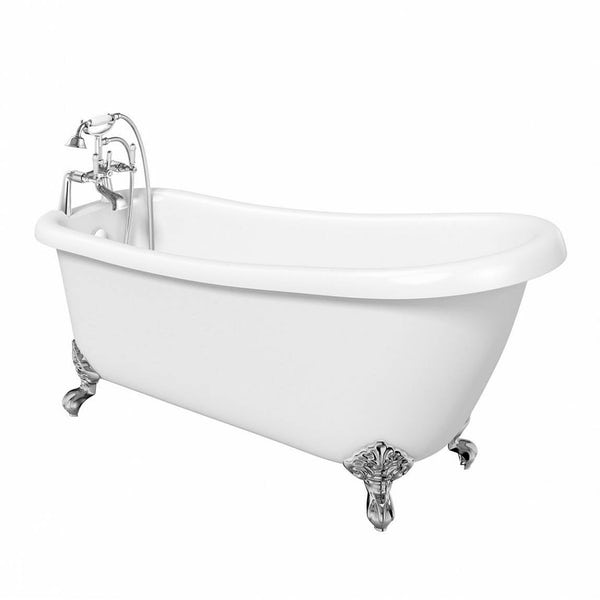 The Bath Co. Winchester single ended roll top bath with chrome ball and claw feet 1550 x 730