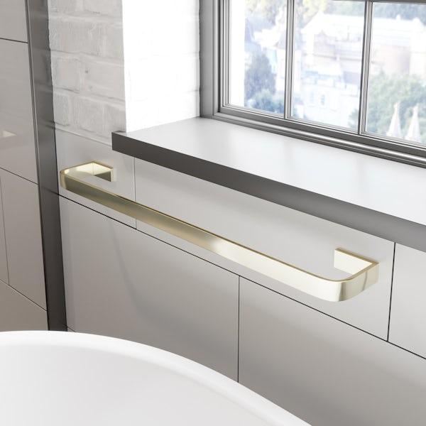 Mode Spencer gold square single towel rail 600mm