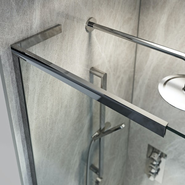 Mode 8mm walk in shower enclosure pack with hinged return panel and walk in shower tray