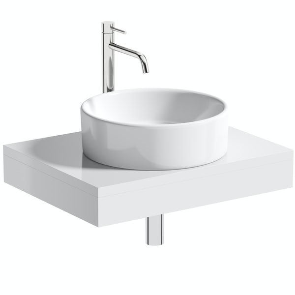 Artist Collection Wowee White round basin with countertop shelf