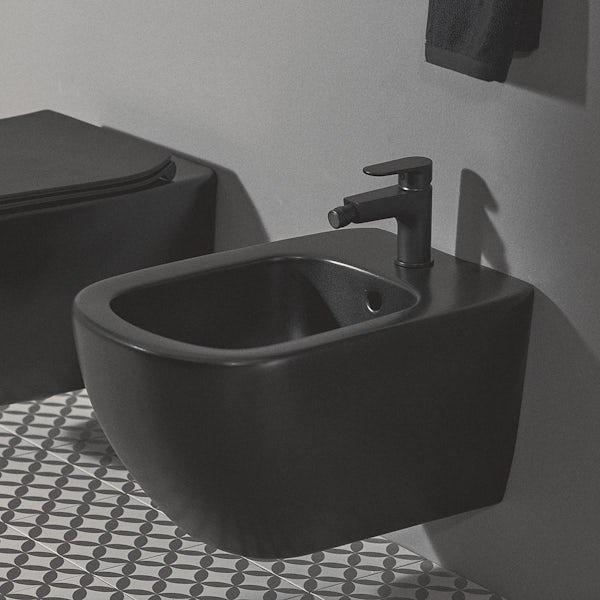 Ideal Standard Tesi silk black wall hung bidet with Cerafine O tap and waste