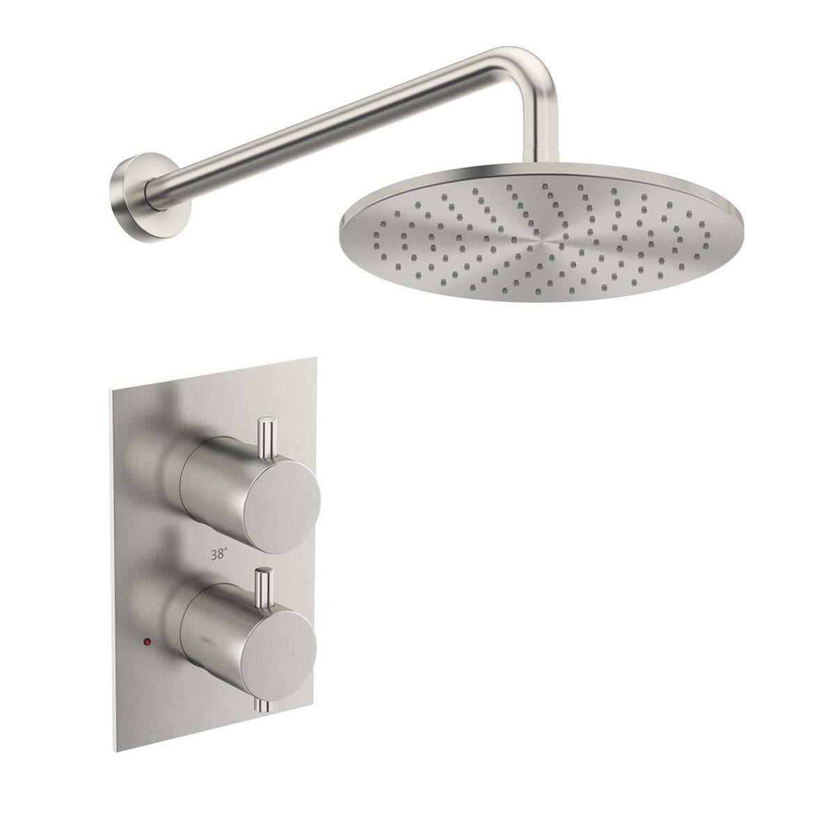 New Shower Head Square Brushed Nickel Bathroom Tapware Range