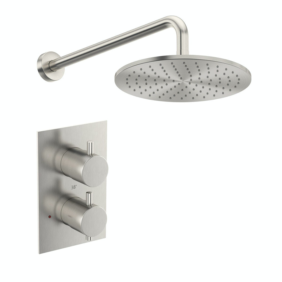 Mode Spencer Round Thermostatic Twin Valve Brushed Nickel Shower Set