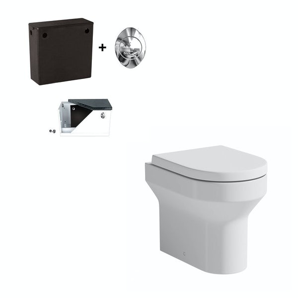 Oakley back to wall toilet with soft close toilet seat and concealed cistern
