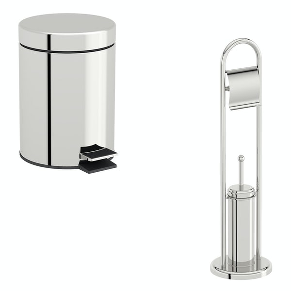 Accents Options round toilet freestanding accessories set with 3 litre bin