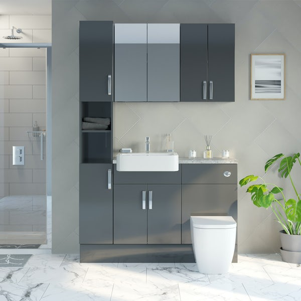 Mode Nouvel gloss grey tall fitted furniture & storage combination with pebble grey worktop