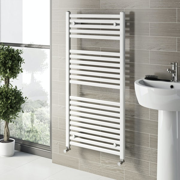 Clarity White heated towel rail 1200 x 600