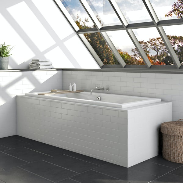Orchard ready to tile bath end panel with tiled lip left hand