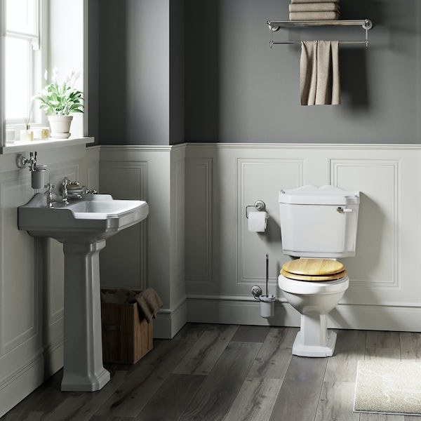 The Bath Co. Winchester complete cloakroom suite with oak effect seat and full pedestal basin 600mm
