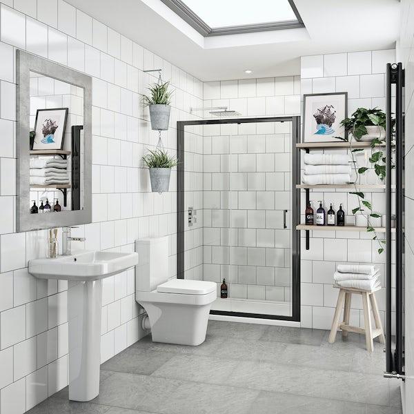 Carter bathroom suite with 6mm black shower door 1200