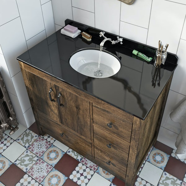The Bath Co Dalston Floorstanding Vanity Unit And Black Marble Basin 900mm