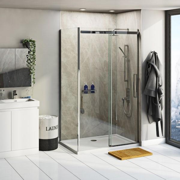 Multipanel Linda Barker Soapstone Stellar shower wall panel corner installation pack 1200 x 1200