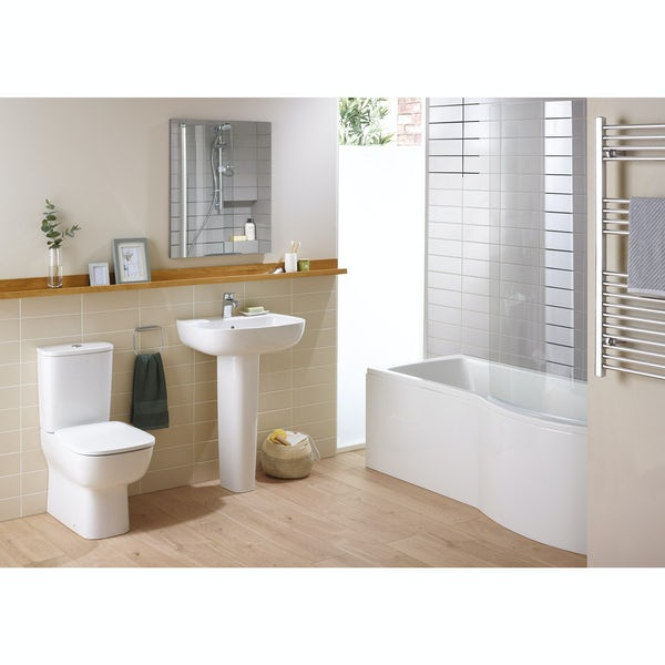 Ideal Standard Studio Echo left hand shower bath suite with full pedestal basin 1700 x 800