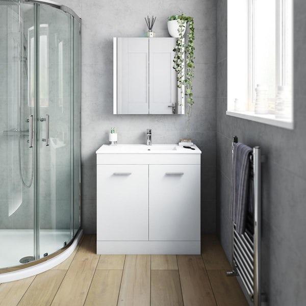 Orchard Odessa gloss white floorstanding vanity unit and ceramic basin 800mm