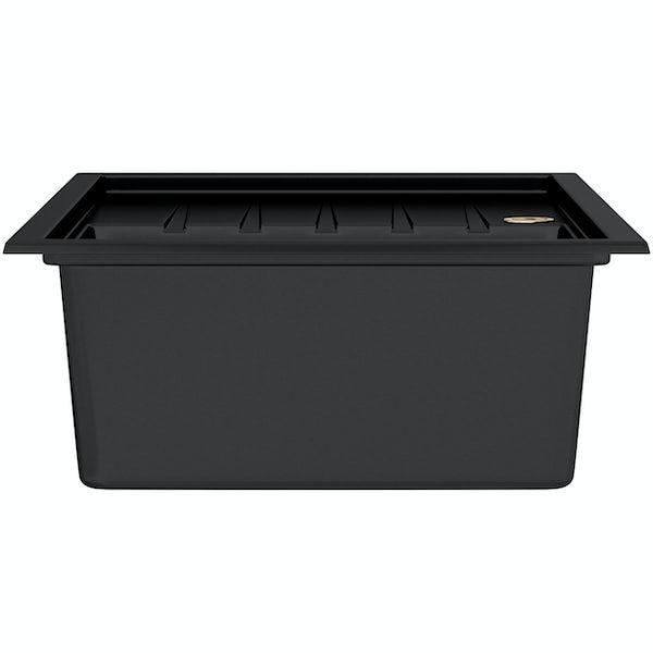 Bristan Gallery quartz left handed black easyfit 1.0 bowl kitchen sink with Melba black tap