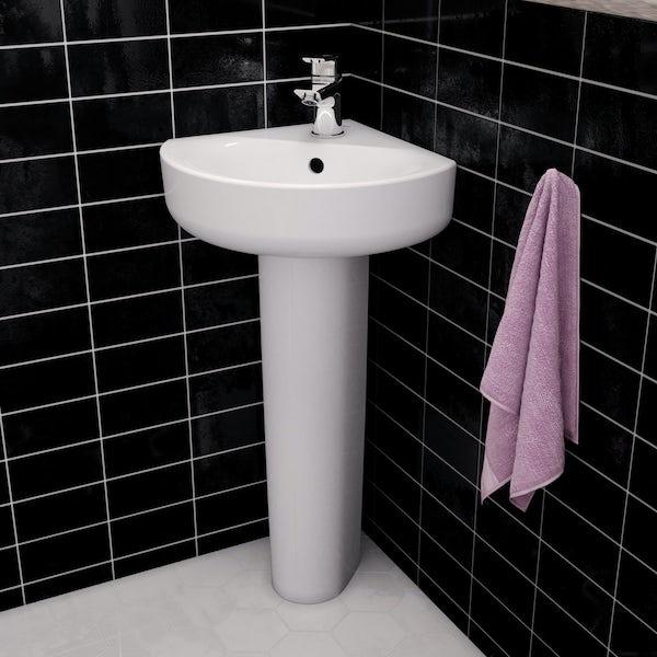 Ideal Standard Concept Space 1 tap hole full pedestal corner basin 450mm
