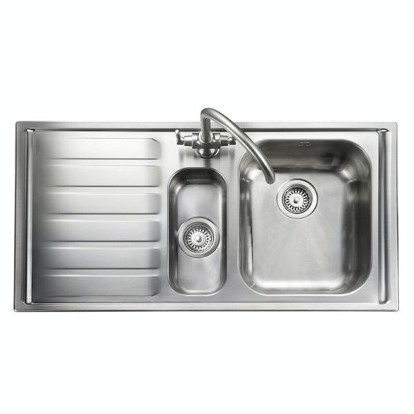 Rangemaster Manhattan 1.5 bowl left handed kitchen sink with waste kit