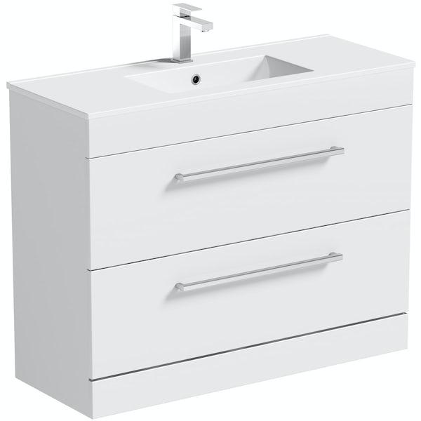 Bathroom Vanity Units B Q: Orchard Derwent White Vanity Unit 900mm With Mirror