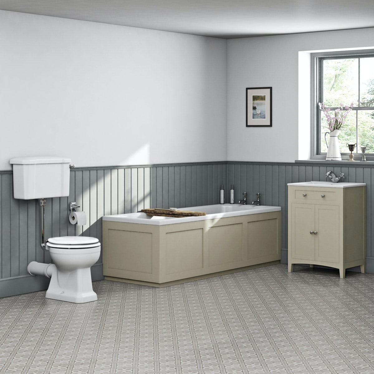 The Bath Co Camberley Satin Ivory Low Level Furniture