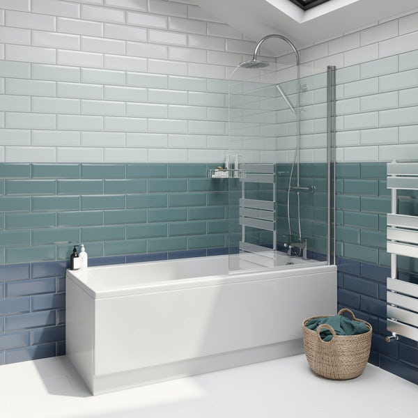 Metro Subway Midnight Blue Bevelled Gloss Wall Tile 100mm