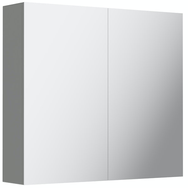 Mode Cortona grey 2 door mirror cabinet