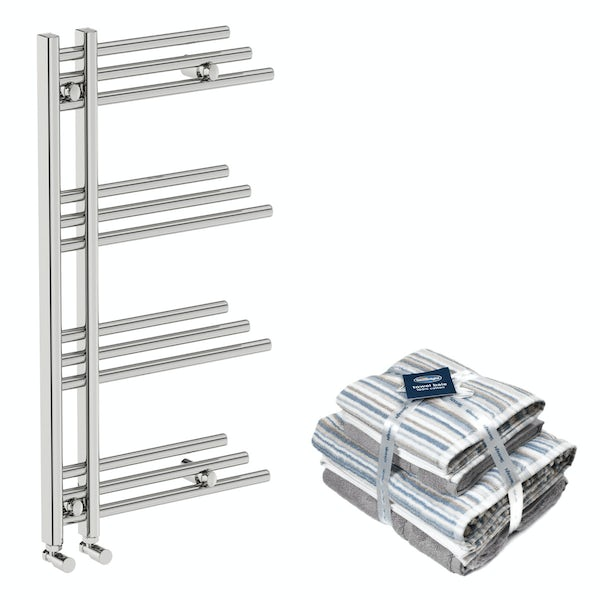 Mode Harrison heated towel rail 950x500 with Silentnight Zero twist grey 4 piece towel bale