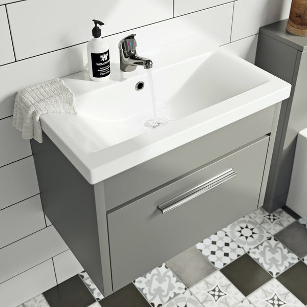 Clarity satin grey wall hung vanity unit and ceramic basin 600mm with tap