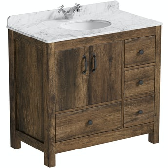 The Bath Co. Dalston floorstanding vanity unit and white marble basin 900mm