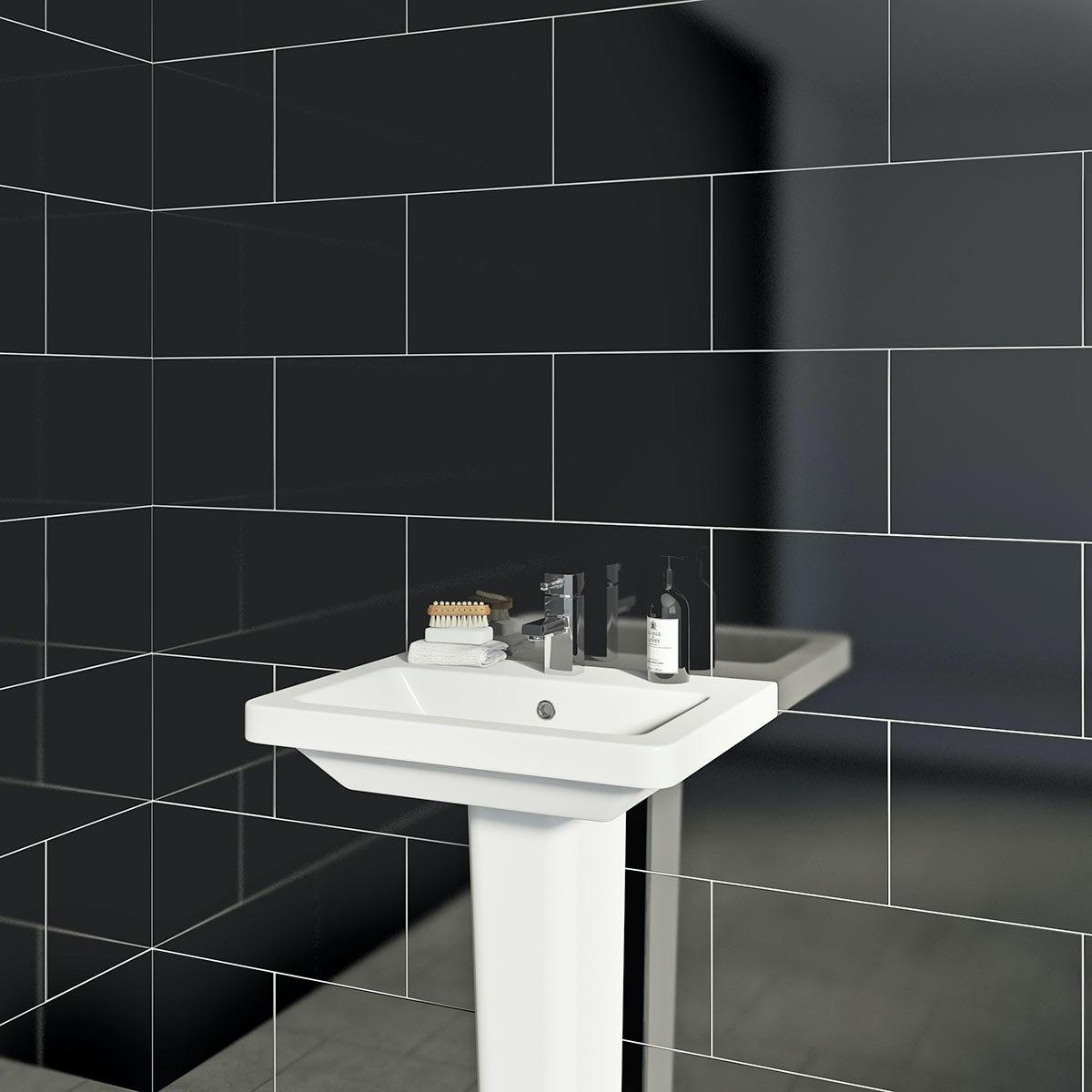 British Ceramic Tile Pure Black Gloss Tile 248mm X 498mm