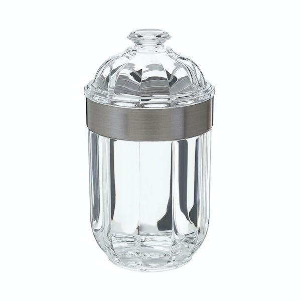 Silver medium acrylic storage jar