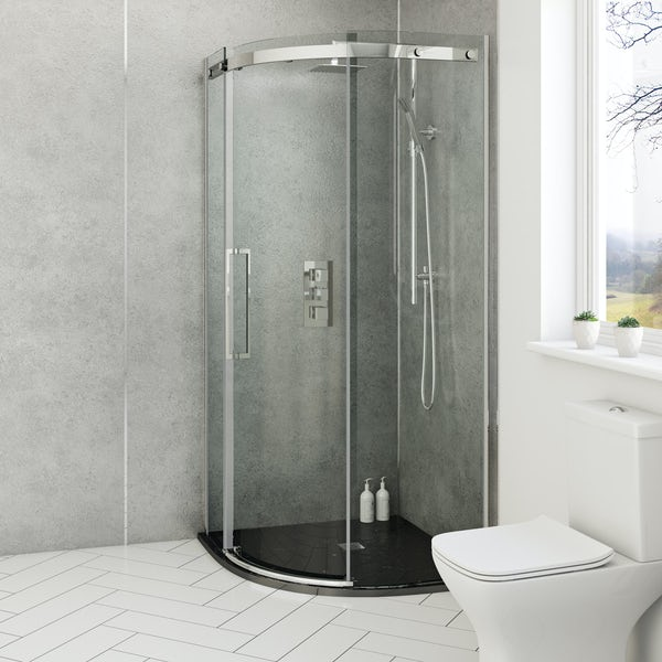 Mode black slate effect quadrant stone shower tray 900 x 900