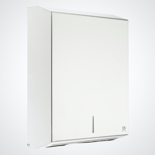 Dolphin commercial white metal maxi paper towel dispenser