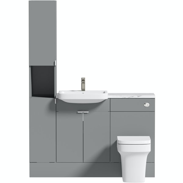 Reeves Wyatt onyx grey tall fitted furniture combination with white marble worktop