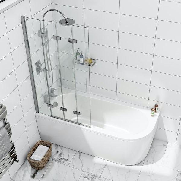 Orchard Elsdon left handed J shaped single ended shower bath 1700 with folding hinged shower bath screen