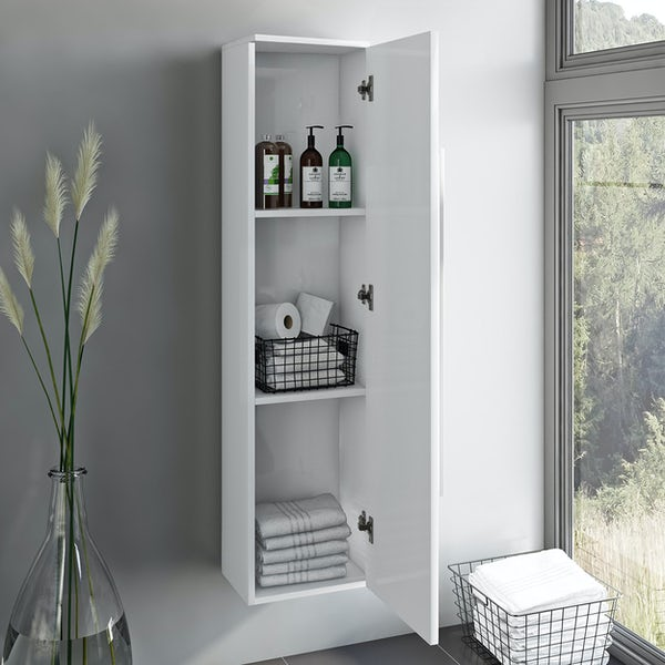 Orchard Derwent white tall wall hung cabinet 1400 x 350mm