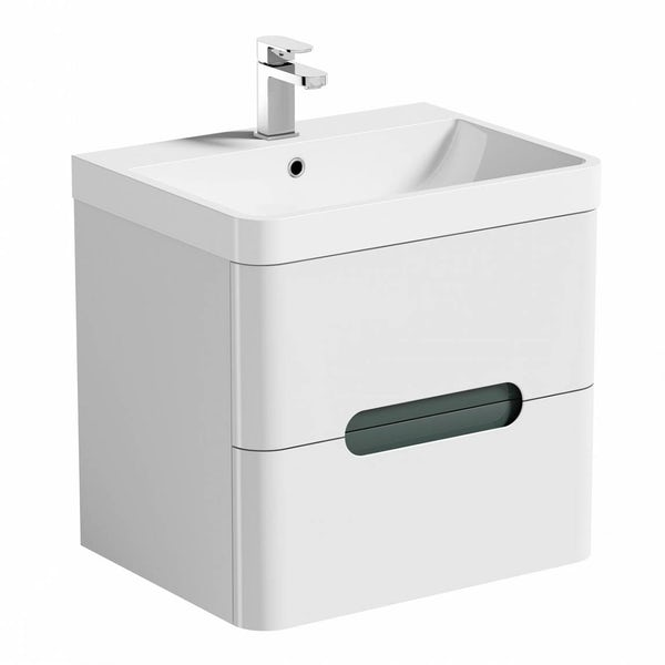 Mode Ellis slate wall hung vanity drawer unit and basin 600mm