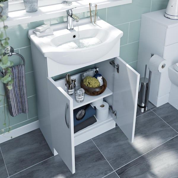 Orchard Sienna gloss white floorstanding vanity unit and ceramic basin 550mm