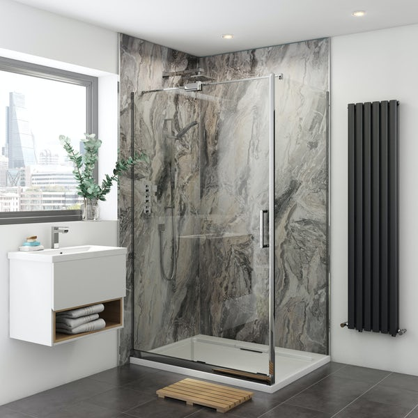 Multipanel Classic Cappuccino Stone unlipped shower wall panel 2400 x 1200