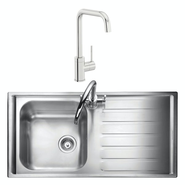 Rangemaster Manhattan 1.0 bowl right handed kitchen sink with waste kit and Schon L spout tap