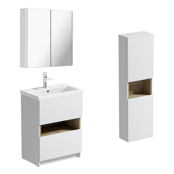 Mode Tate II white & oak furniture package with floorstanding vanity unit 600mm