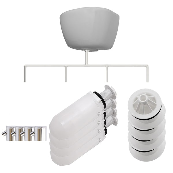Kirke Curve top in exposed urinal accessories pack for 4 bowls