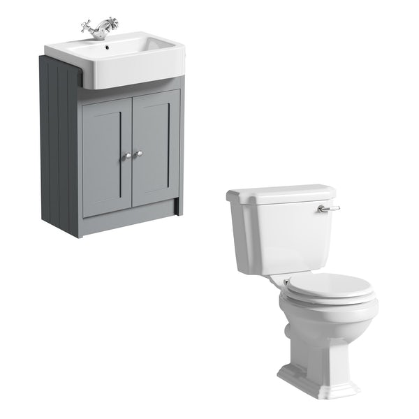 The Bath Co. Dulwich close coupled toilet with white seat and stone grey vanity unit suite 600mm
