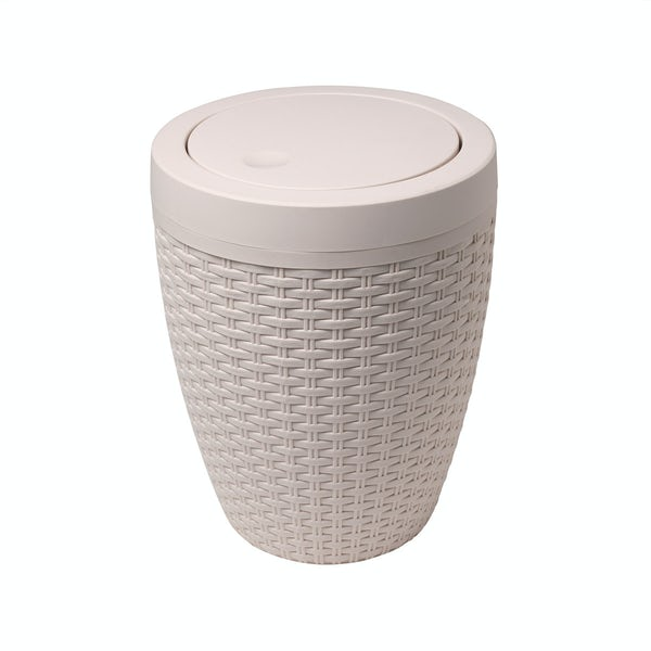 Addis Natural faux rattan round bathroom bin