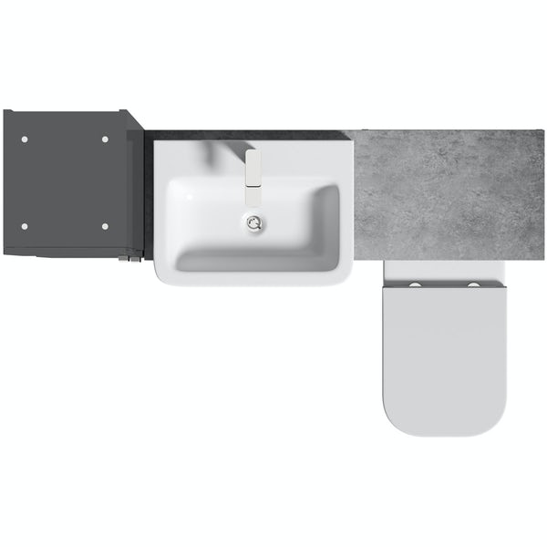 Mode Nouvel gloss grey tall fitted furniture combination with pebble grey worktop