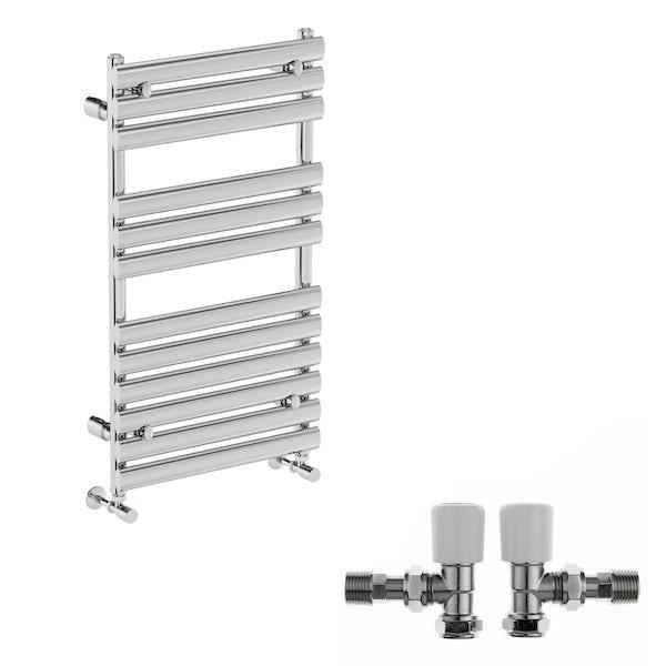 Mode Heath chrome radiator 910 x 500 with angled valves