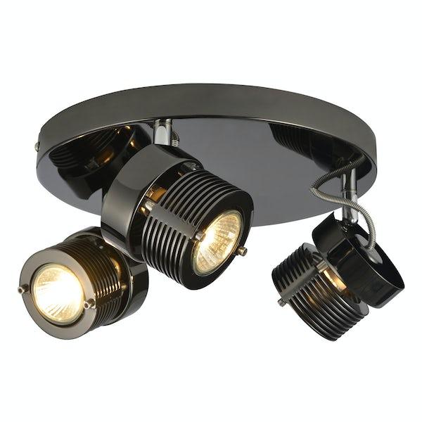 Forum Perseus black chrome 3 light kitchen ceiling light