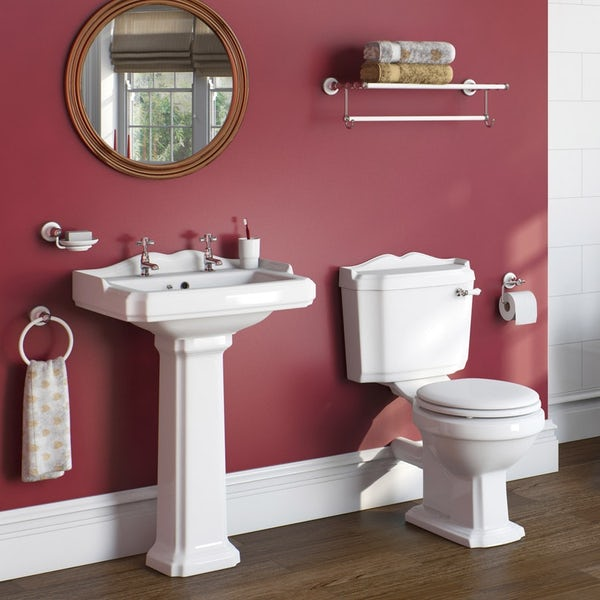 The Bath Co. Winchester cloakroom suite with white seat and full pedestal basin 600mm with tap and waste Back to product list Clone product